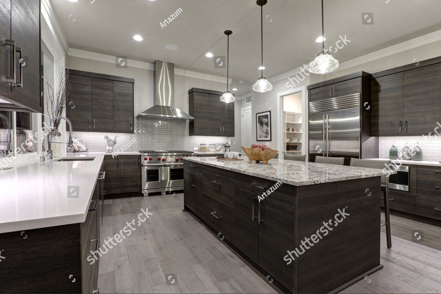 Kitchen Features Dark Gray Flat Front